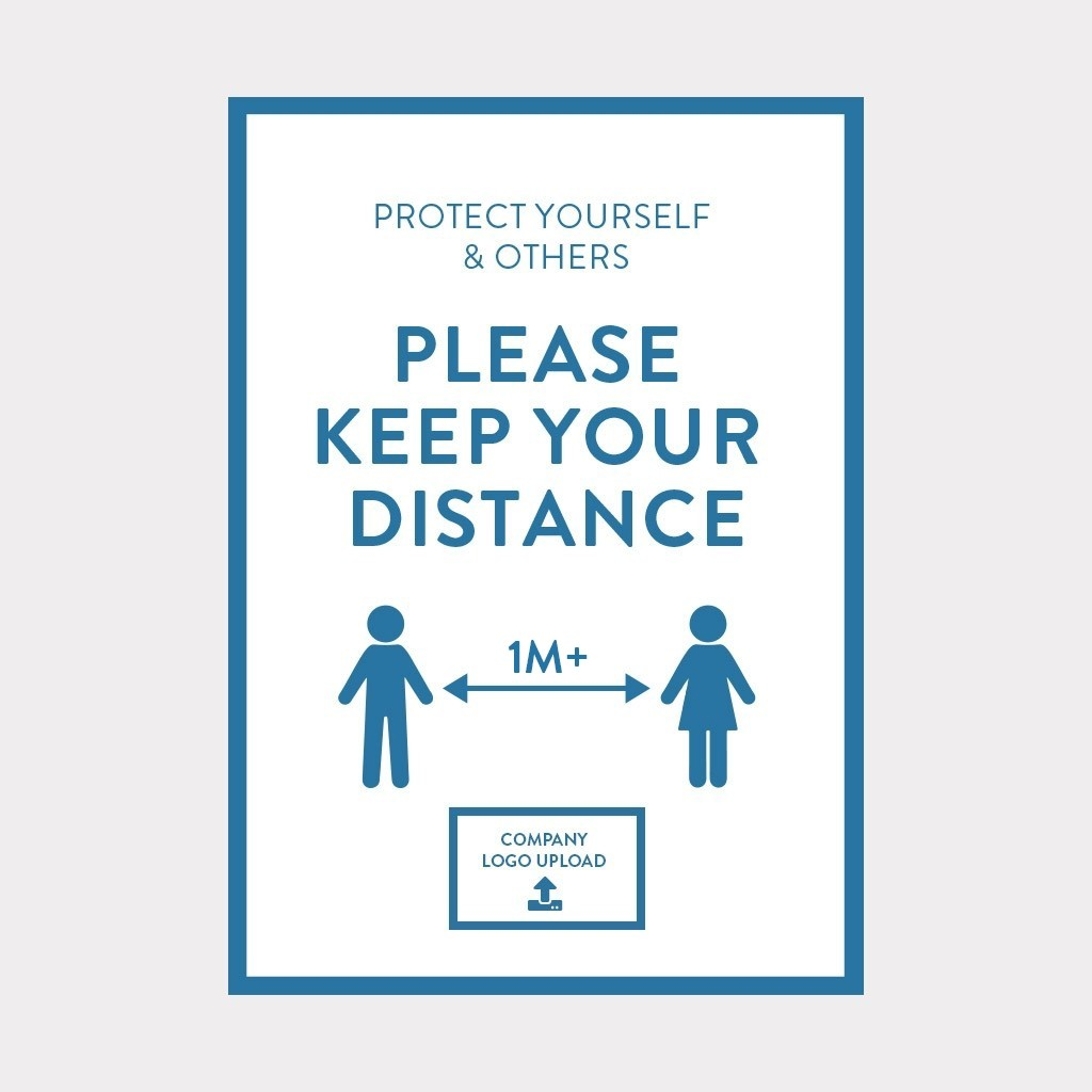 COVID-19 Vinyl Sticker 1M+ Distance Safety Sign