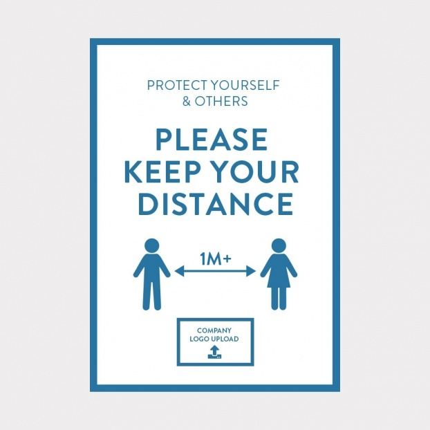 COVID-19 Laminated 1M+ Distace Safety Sign