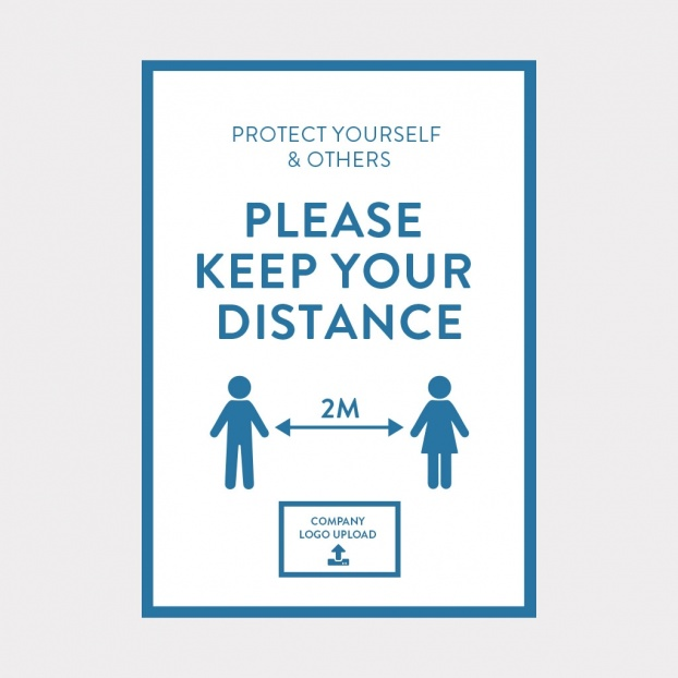 COVID-19 Vinyl Sticker 2M Distance Safety Sign